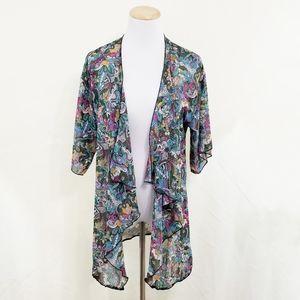 Lularoe Lindsay kimono elephant sheer rainbow mod